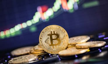 Bitcoin against trading background